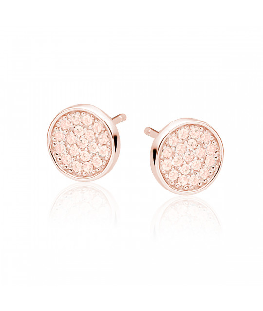 Silver elegant round earrings with zircon, Rose gold