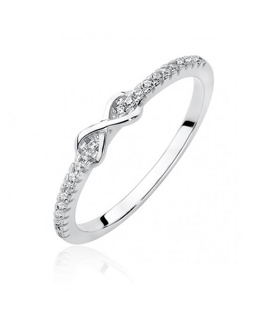 Silver ring with white zircon - Infinity, EU-15