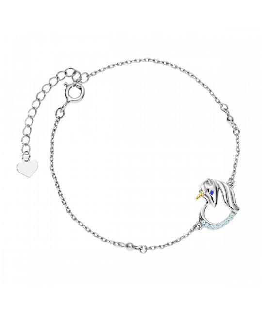Silver bracelet, Unicorn with aquamarine zircon and sapphire eyes