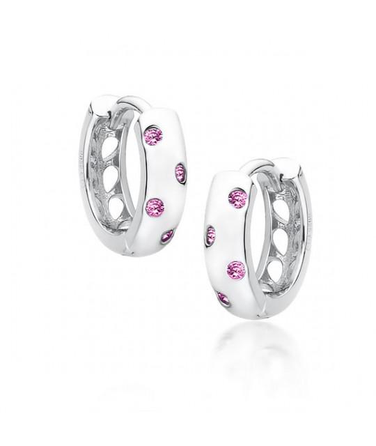 Серебряные серьги с розовым цирконом, Hoop