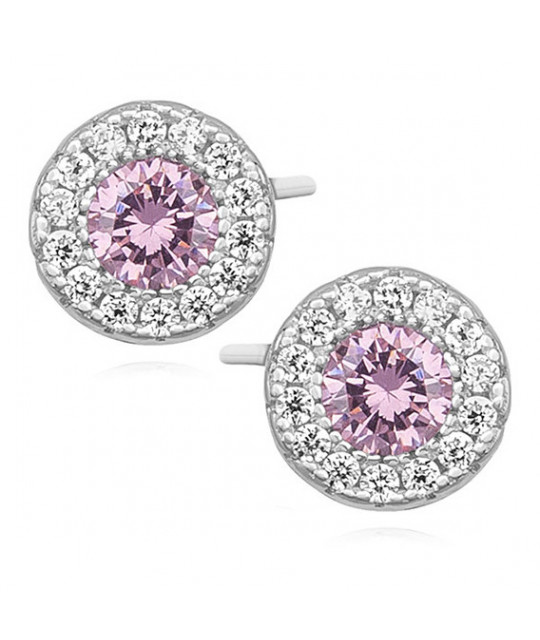 Round silver earrings with zircon