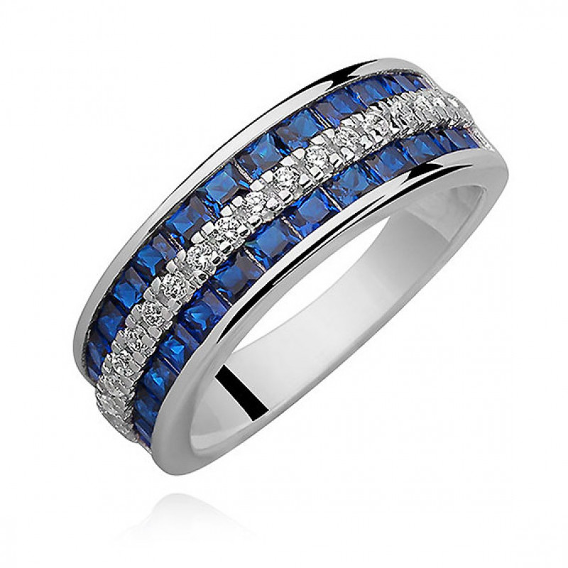 Silver ring with white and sapphire zircon, EU-15