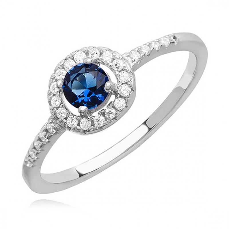 Silver ring with sapphire zircon, EU-15