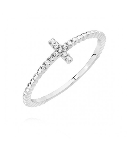 Silver ring with white zircon, Cross EU-13
