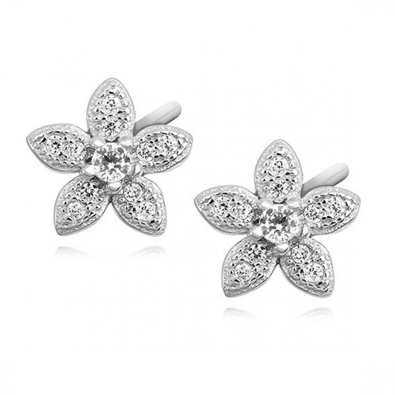Silver elegant earrings, Flowers with zircon