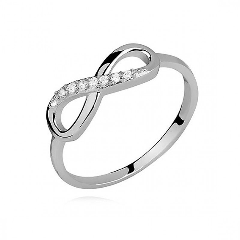 "Silver ring with white zircon ""Infinity"", EU-15"
