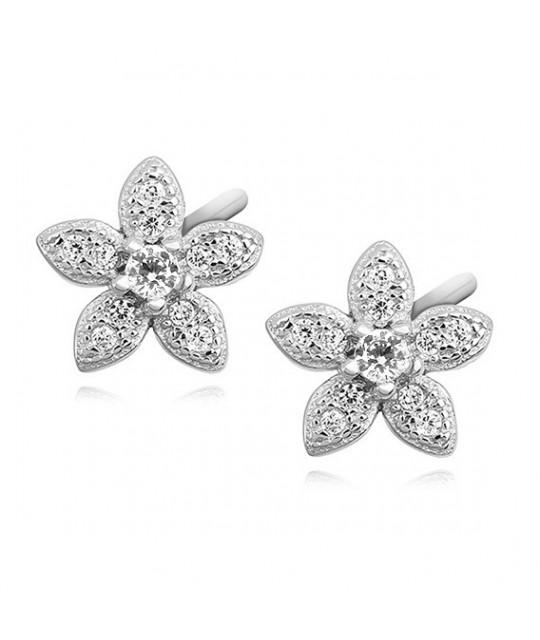 Sidabriniai elegantiški auskarai, Gėlės su cirkoniu