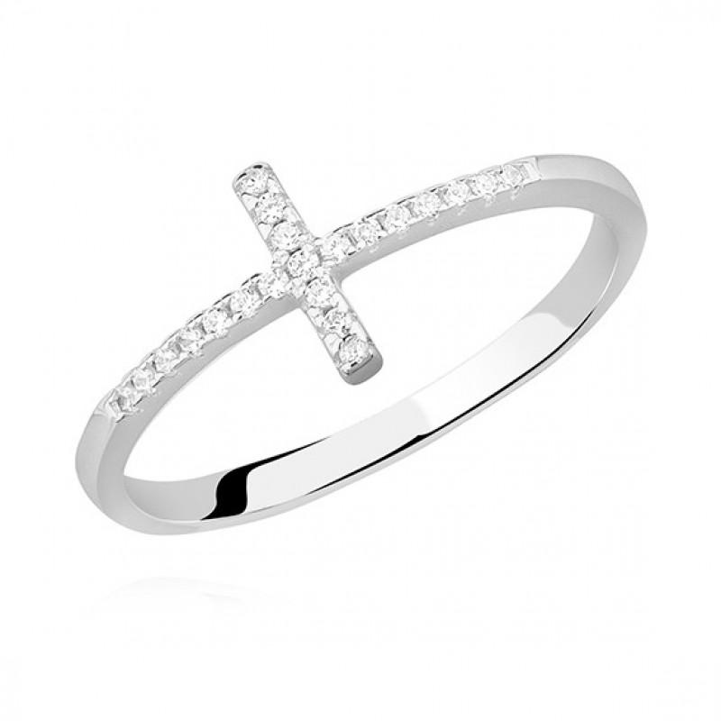 Silver ring with white zircon - Cross, EU-15
