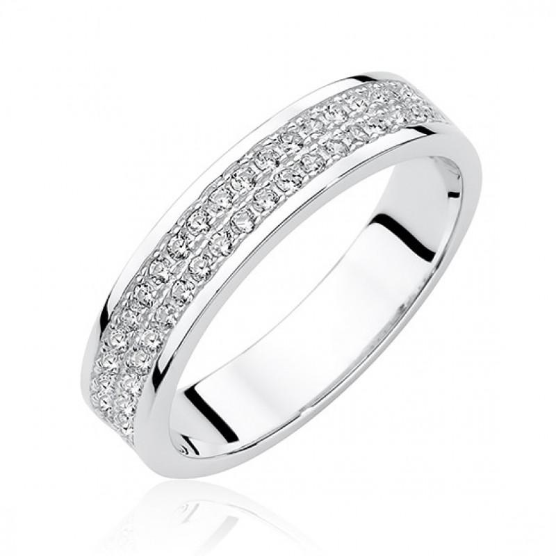 Silver ring with zircon, EU-13