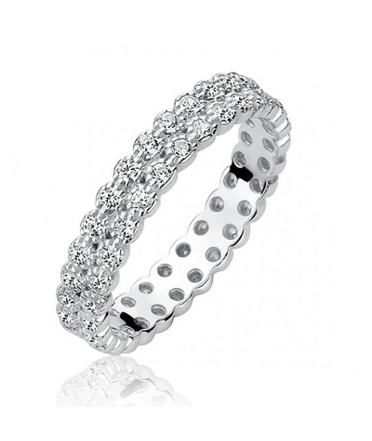Silver ring with white zircon, EU-14