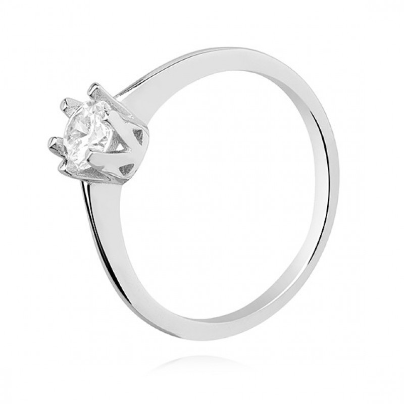 Silver ring with white zircon, EU-17