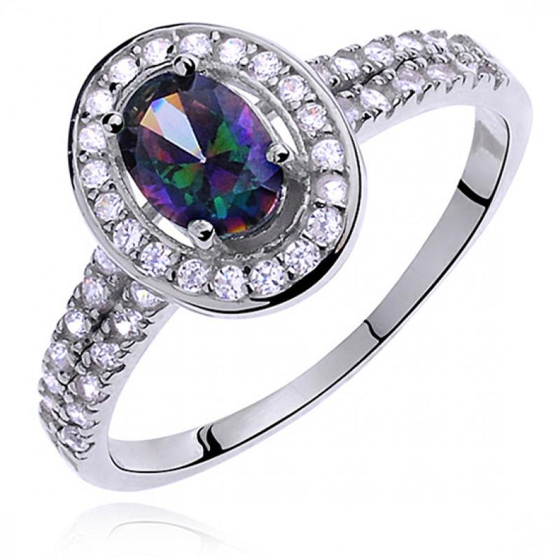 Silver ring with multicolored and white zircon, EU-14