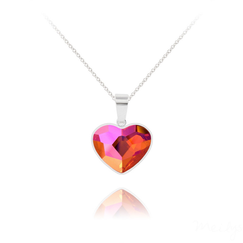 Silver Necklace Heart V2, Astral Pink