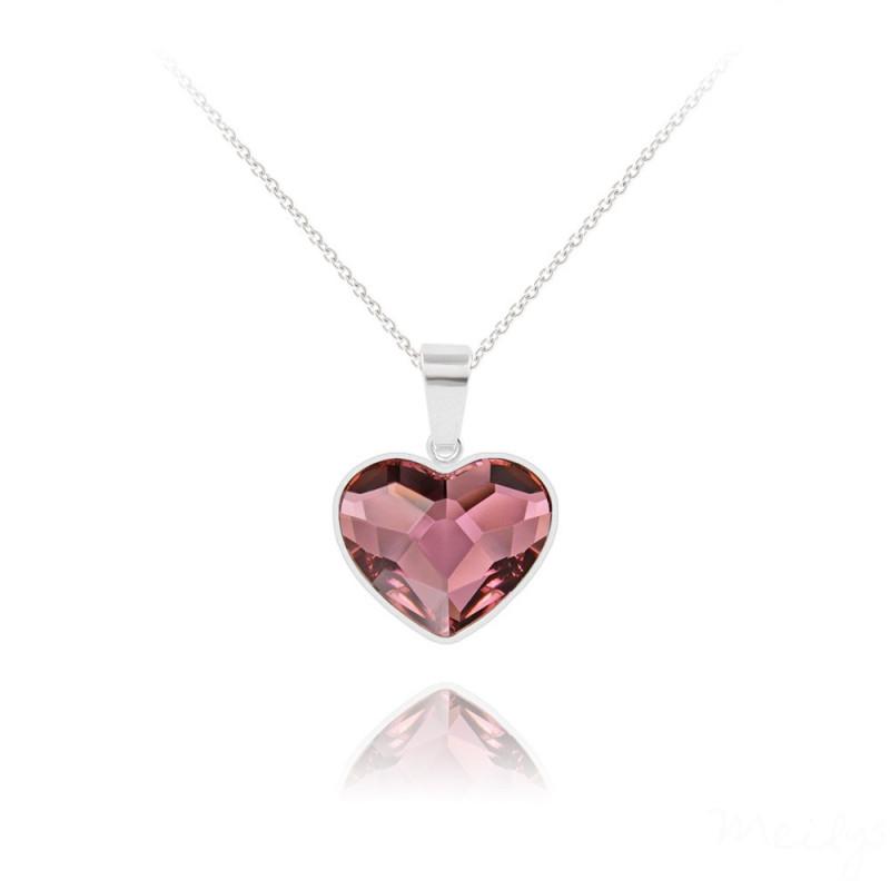 Sidabriniai karoliai Heart V2, Antique Pink