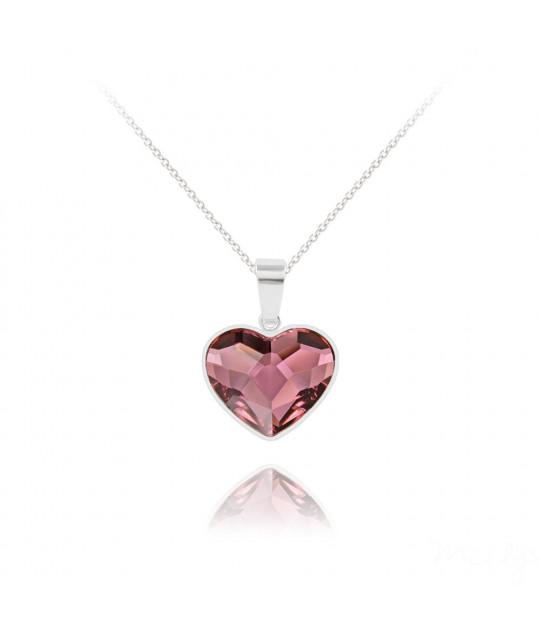 Silver Necklace Heart V2, Antique Pink