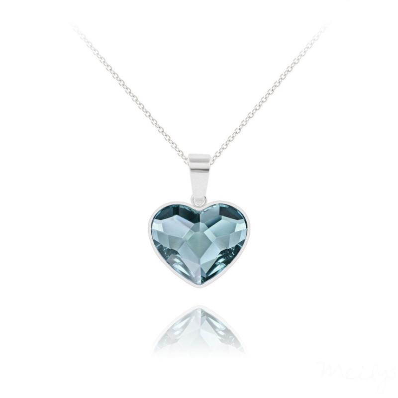 """Silver Necklace """"Heart V2"""", Denim Blue"""