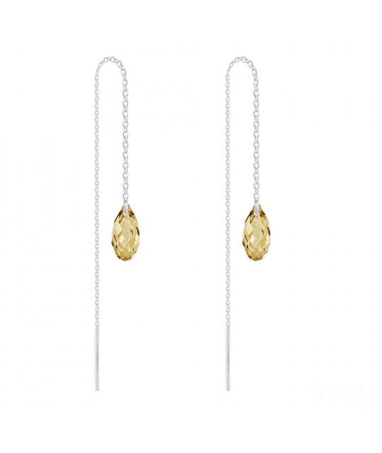 Silver Chain Earrings Briolette, Golden Shadow