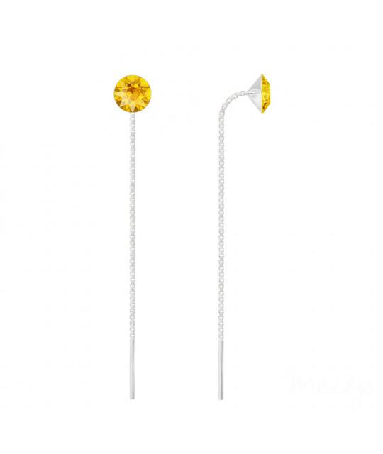 Silver Chain Earrings Xirius, Yellow Opal