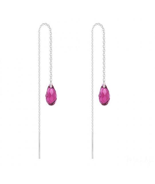 Silver Chain Earrings Briolette, Fuchsia