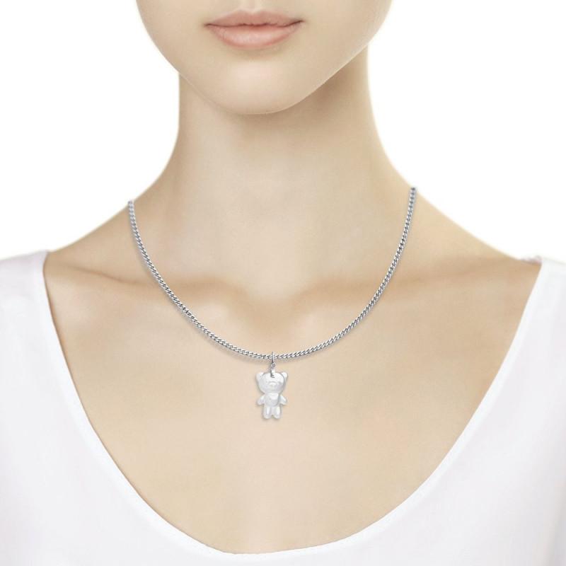 "Silver SOKOLOV pendant with ceramics, ""White bear"""