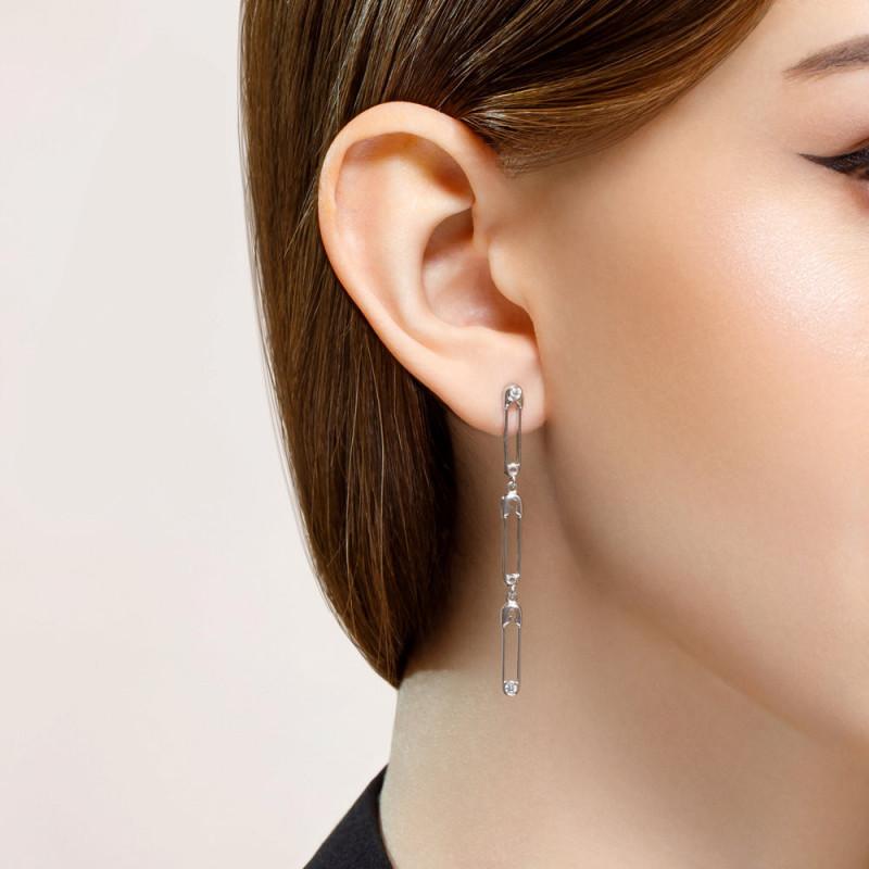Long silver earrings SOKOLOV with cubic zirkonia