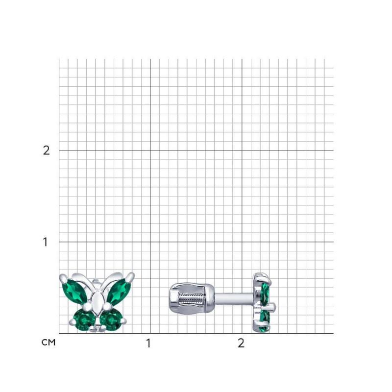 Silver earrings-studs with green cubic zirkonia
