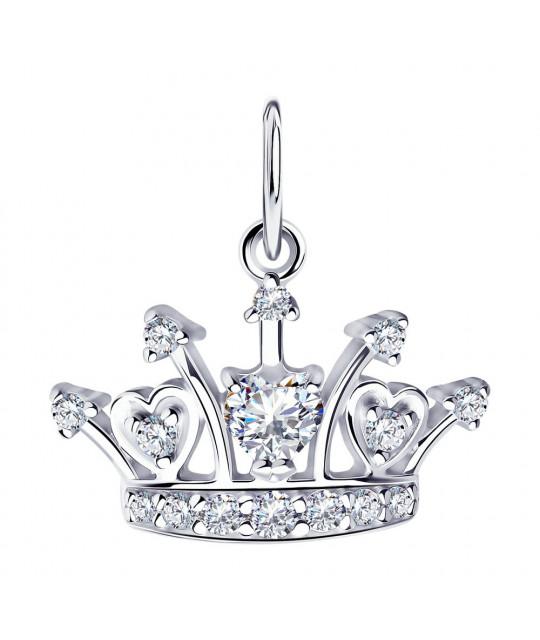 "Silver SOKOLOV pendant ""Crown"" with cubic zirkonia"