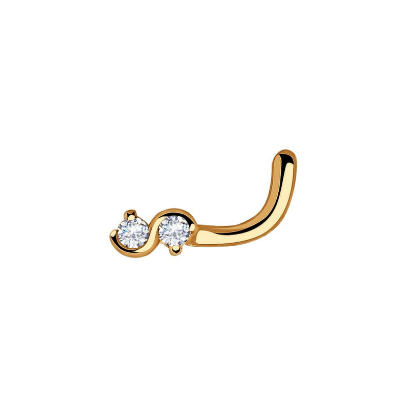 Gold piercing SOKOLOV in the nose with cubic zirkonia, Infinity