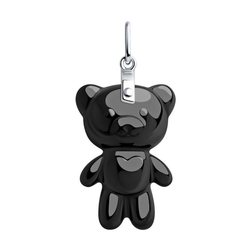 """Hõbedane SOKOLOV ripats keraamikaga, """"Must karu"""""""