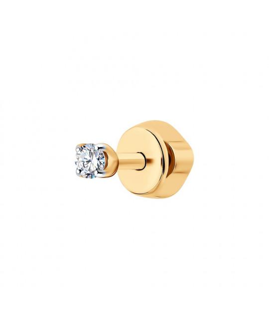 Üks kuldne kõrvarõngas kuupmeetri tsirkooniumoksiidiga