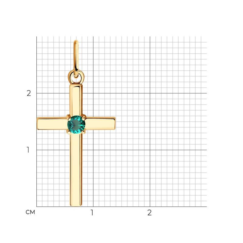 Aukso kryžius SOKOLOV su hidroterminiu smaragdu