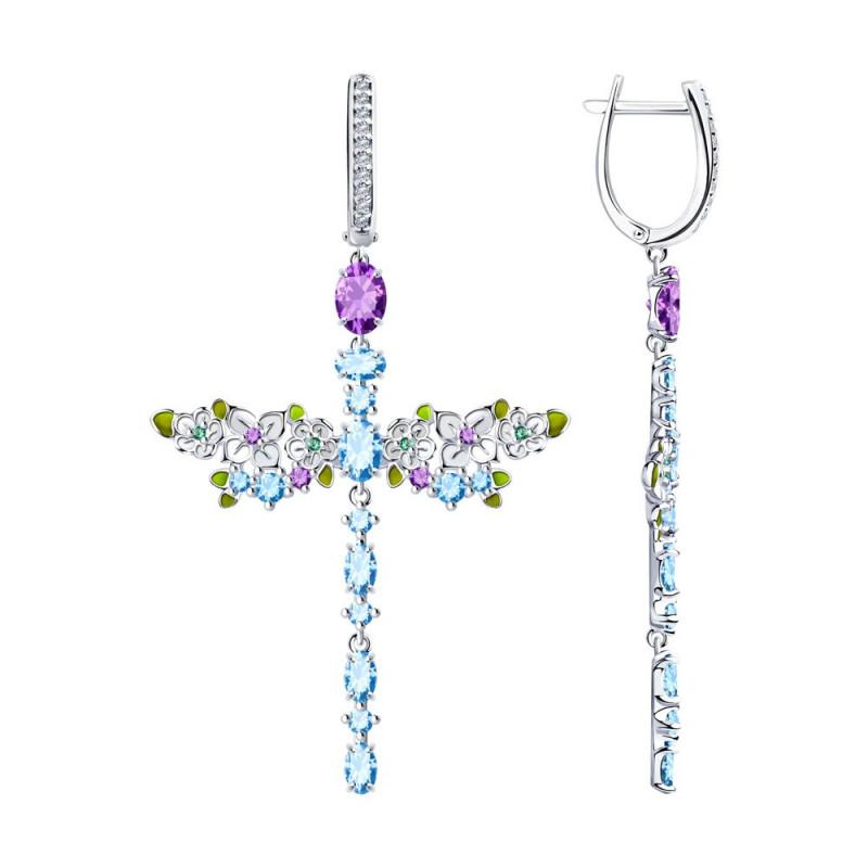 Silver earrings SOKOLOV with enamel and cubic zirkonia