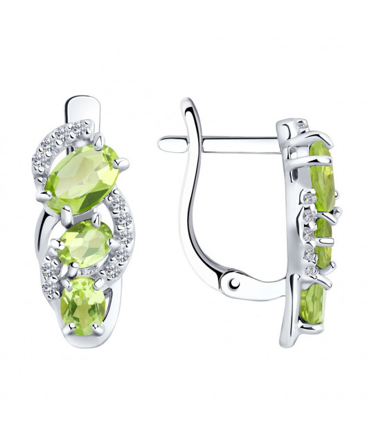 Silver earrings with cubic zirkonia and chrysolites