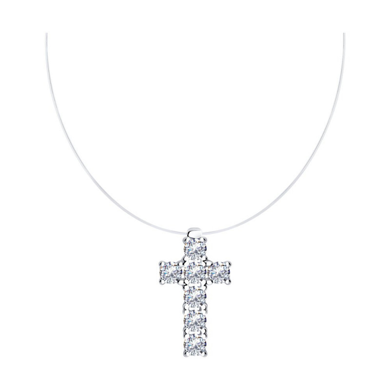 Silver necklace SOKOLOV with cubic zirkonia
