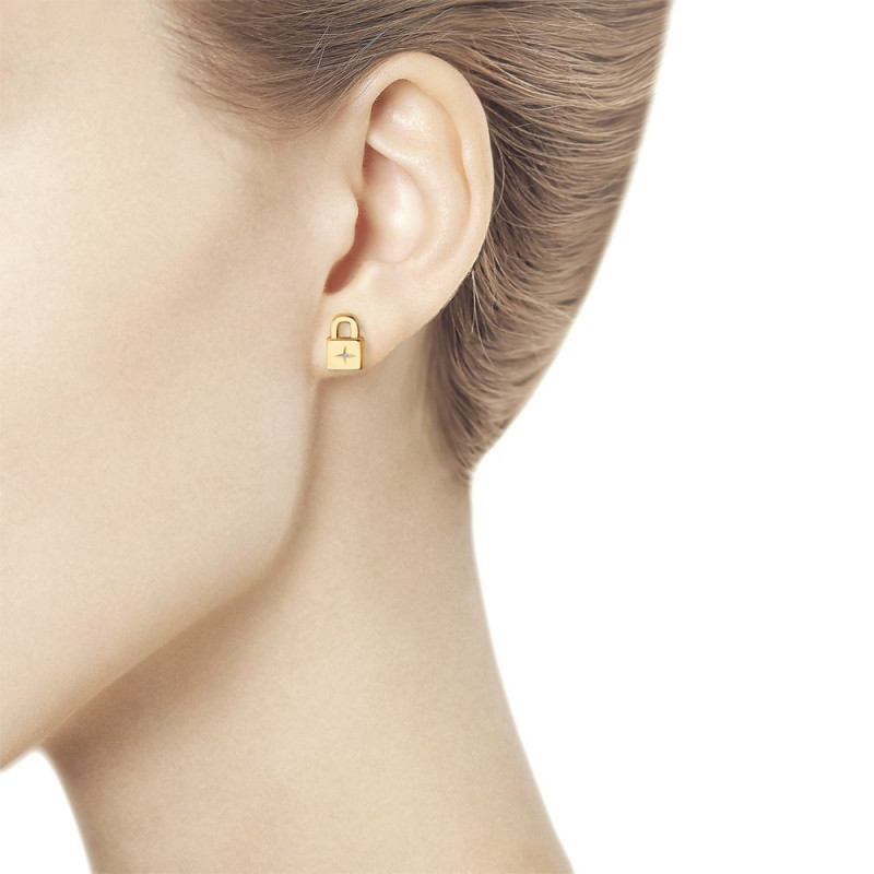 Gold plated silver earrings with diamonds, Lock