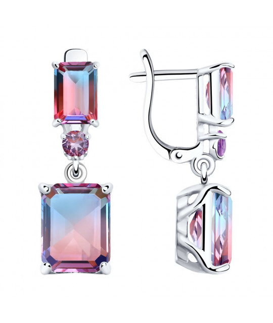 Silver earrings, Sitalls and lilac cubic zirconias