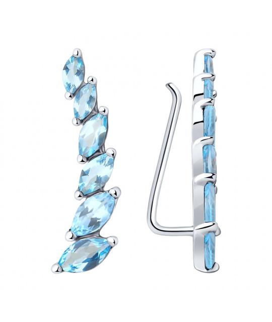 Silver earrings SOKOLOV with topaz, Blue