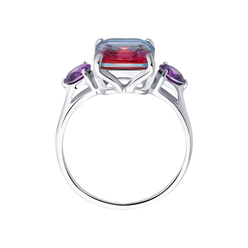 Silver SOKOLOV ring with sitall and cubic zirkonia