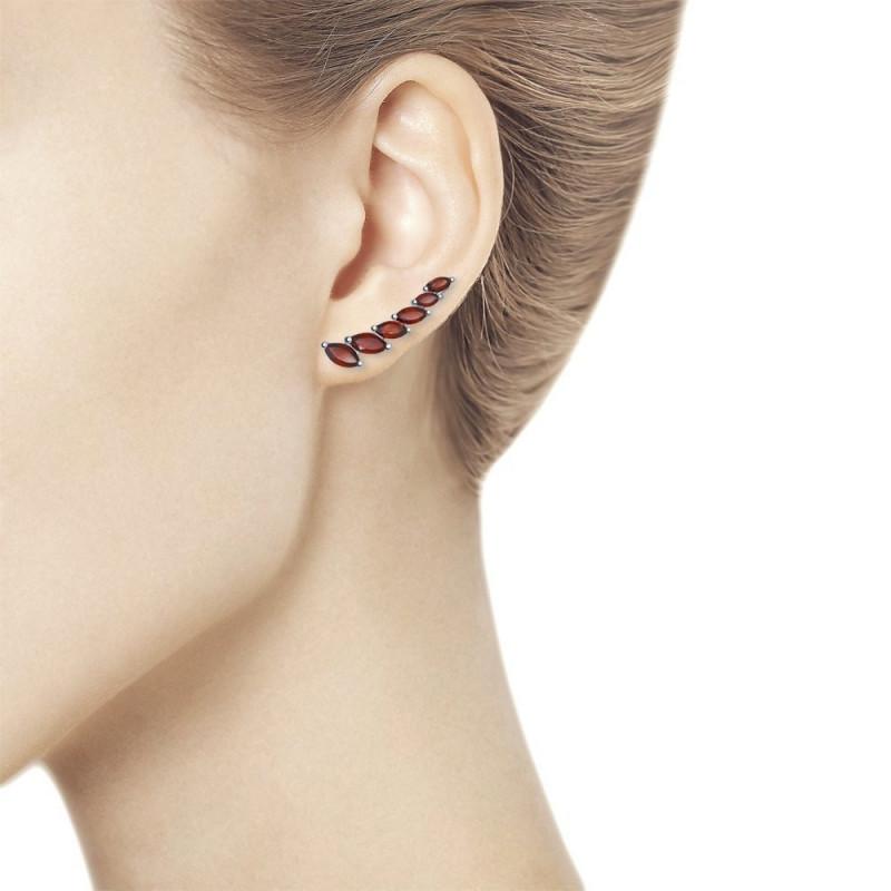 Silver earrings SOKOLOV with topaz, Dark red