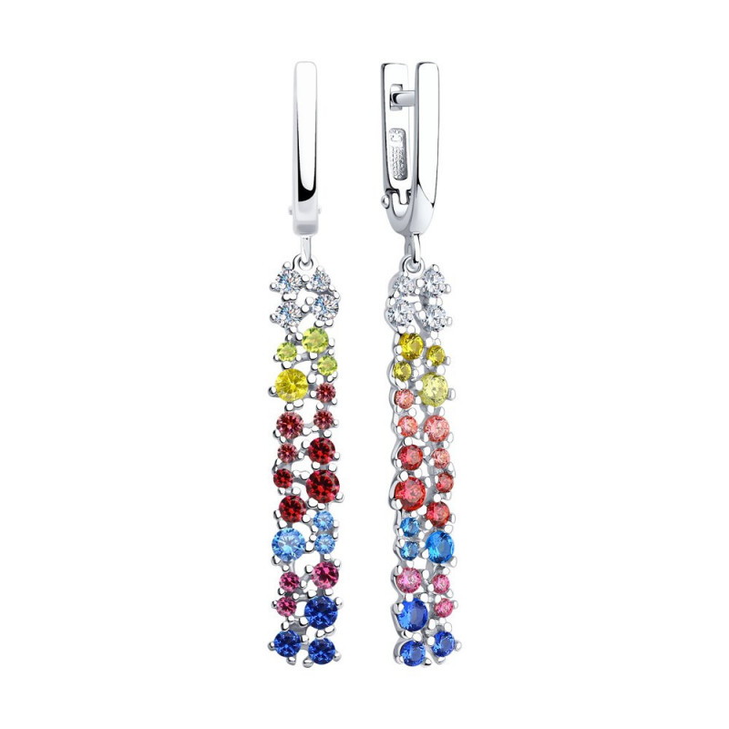 Silver earrings SOKOLOV with cubic zirkonia, Multicolor