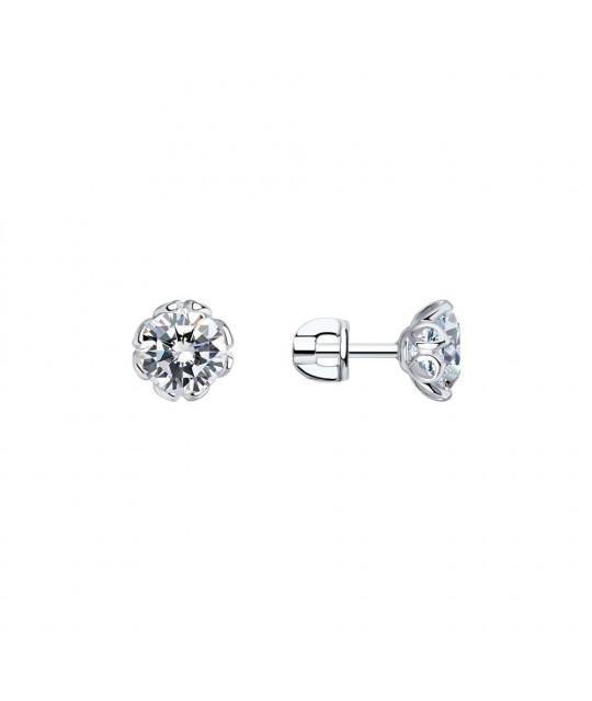 Earrings-studs SOKOLOV in silver with Zirconia