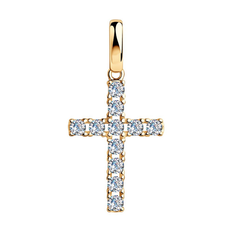 Gold-plated pendant SOKOLOV cross with cubic zirkonia