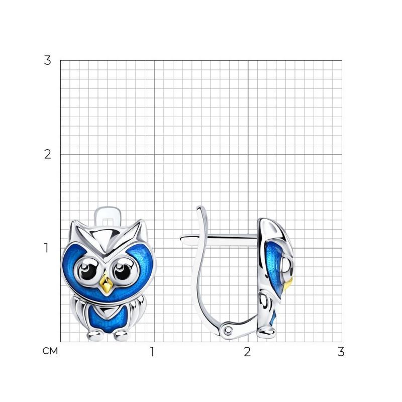 Silver earrings SOKOLOV with enamel, Owl