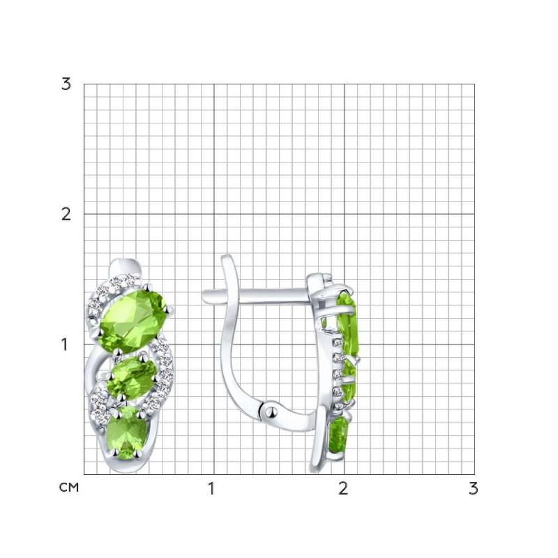 Hõbekõrvarõngad kuupmeetri tsirkooniumoksiidi ja krüsoliitidega