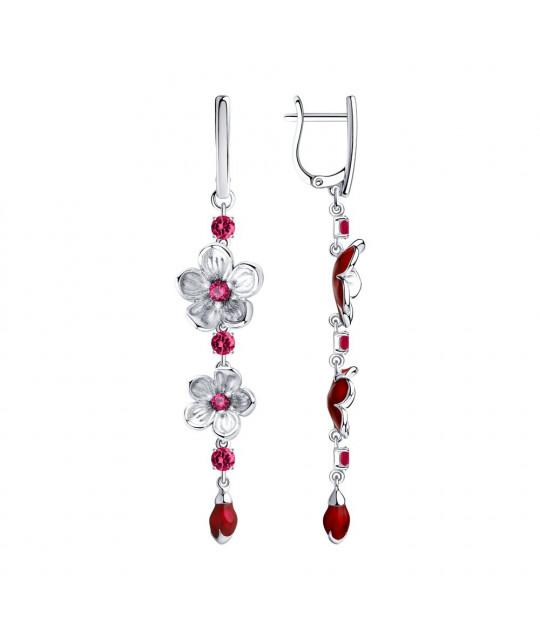 Silver earrings SOKOLOV with enamel and cubic zirkonia, Corundum №2