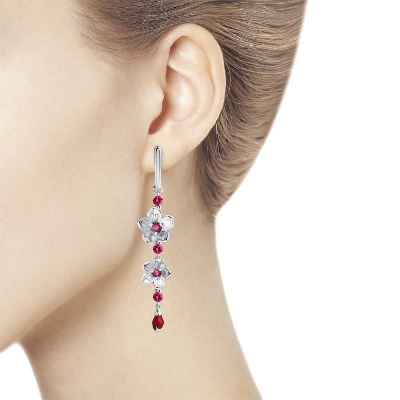 Silver earrings with enamel and cubic zirkonia, Corundum №2