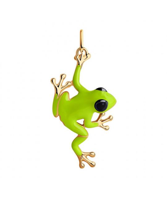 "Pendant SOKOLOV in gilded silver with enamel, ""Frog"""