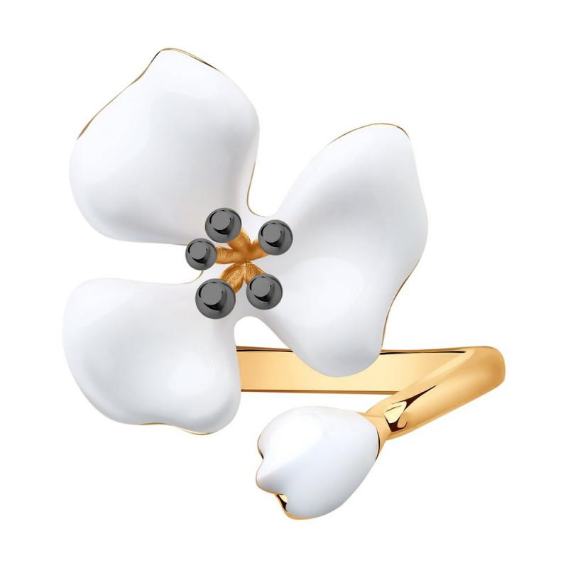 Silver ring SOKOLOV with enamel, White