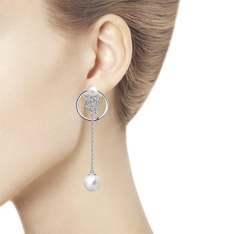 Sidabriniai auskarai SOKOLOV su perlais ir kubiniu cirkoniu
