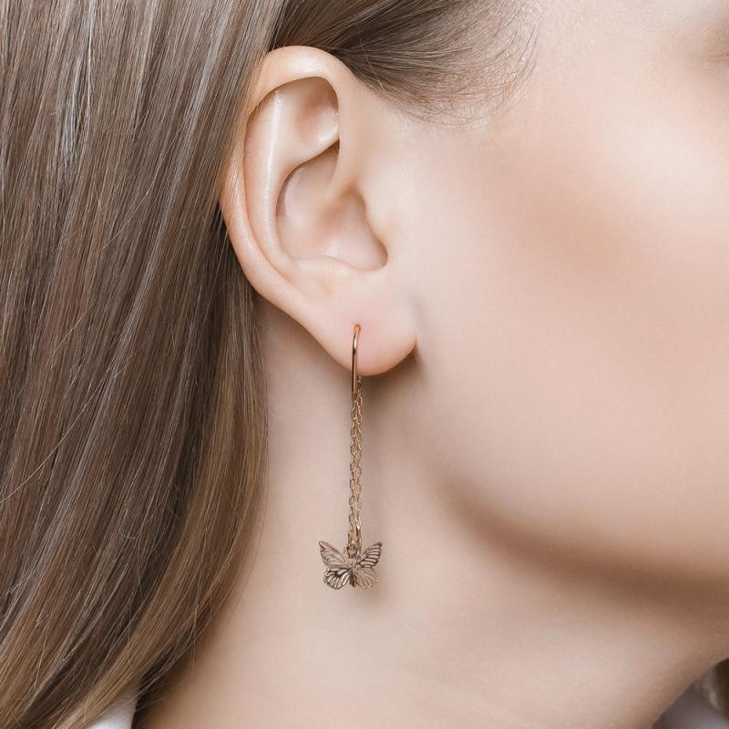 Golden stud earrings SOKOLOV, Butterfly